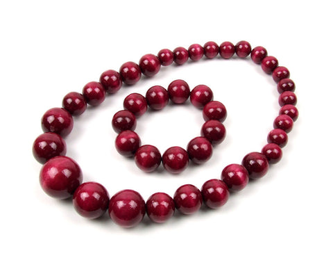 FolkFashion Wooden Bead Necklace and Bracelet Set - Cherry - Taste of Poland  - 1