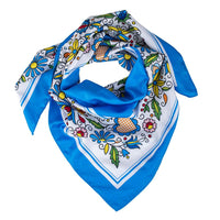 Modern Polish Folk Art Head Scarf - Kashubian Blue