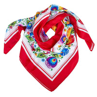 Modern Polish Folk Art Head Scarf - Lowicz White