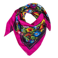 Modern Polish Folk Art Head Scarf - Lowicz Black