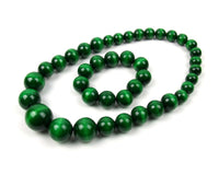 FolkFashion Wooden Bead Necklace and Bracelet Set - Dark Green - Taste of Poland  - 1