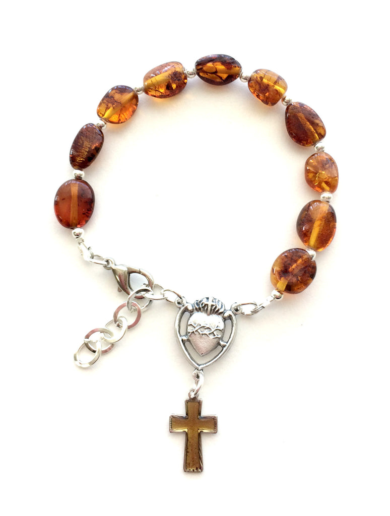 Polish Natural Baltic Amber One Decade Rosary Bracelet - Taste of Poland  - 1