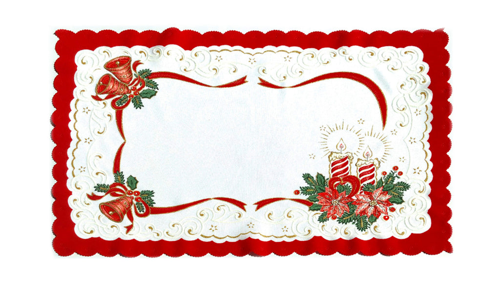 "Polish Two-Toned Christmas Table Rectangular Doily 13""x19"""