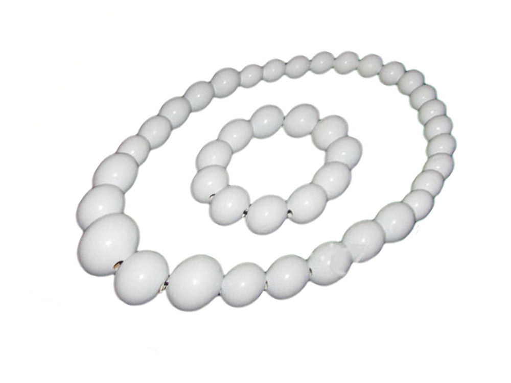 Handmade Wooden Bead Necklace and Bracelet Set (Korale Goralskie)- White