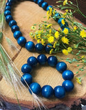 Handmade Wooden Bead Necklace and Bracelet Set (Korale Goralskie)- Navy Blue