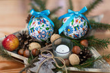 Kashubian Polish Folk Art Christmas Ornaments, Set of 7