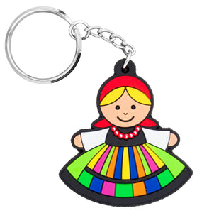 Polish Folk Lowicz Female Flexible Keychain, Lowiczanka