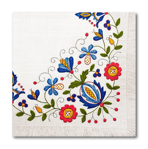 Polish Folk Art Kashubian Embroidery Luncheon Napkins, Set of 20 - Taste of Poland  - 1