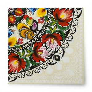 Polish Folk Art Rooster Luncheon Napkins, Set of 20 - Taste of Poland  - 1