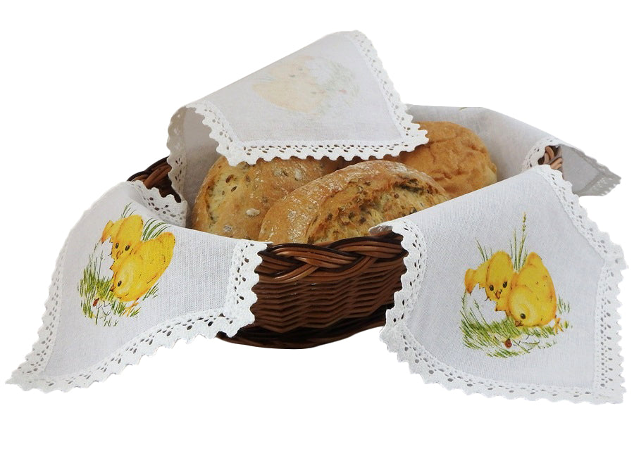 Polish Traditional Chicks Bread Basket Liner Bun Warmer Doily