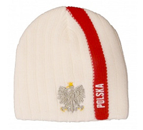 Knitted Polska Stripe Winter Hat with Eagle - Taste of Poland  - 2