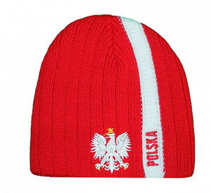 Knitted Polska Stripe Winter Hat with Eagle - Taste of Poland  - 1