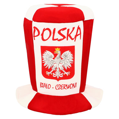 Polska Eagle Bialo-Czerwoni Sport Soccer Fan Cylinder Top Hat White & Red