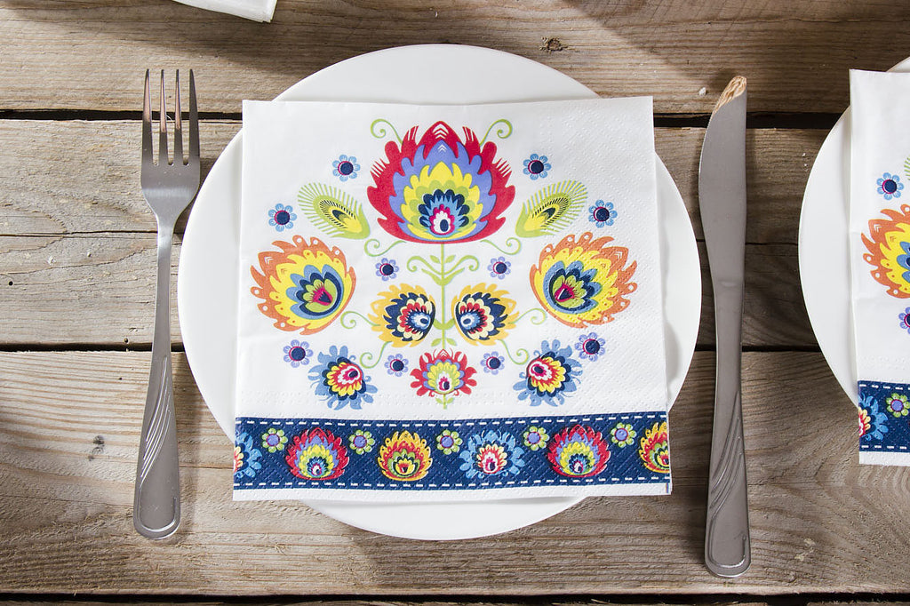 Polish Lowicz Folk Art Flower Luncheon Napkins, Set of 20