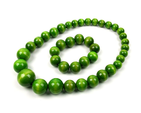 FolkFashion Wooden Bead Necklace and Bracelet Set - Light Green - Taste of Poland - 1