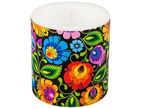 Polish Folk Art Candle - Black - Taste of Poland