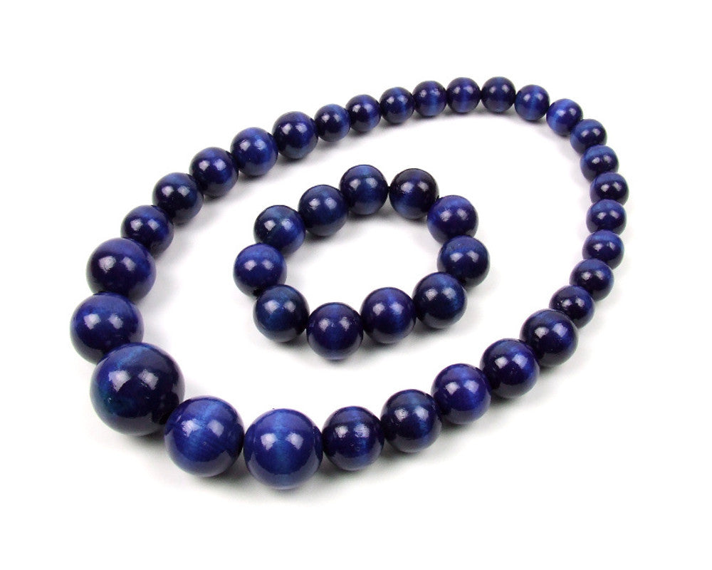 FolkFashion Wooden Bead Necklace and Bracelet Set - Navy Blue - Taste of Poland  - 1