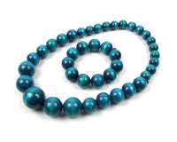 FolkFashion Wooden Bead Necklace and Bracelet Set - Aqua Blue - Taste of Poland  - 1