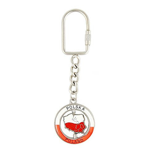 Polska Map of Poland Metal Spinner Keychain - Taste of Poland