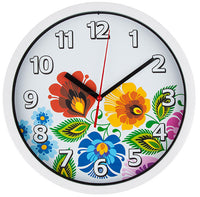 Polish Folk Art Wall Clock - Floral White - Taste of Poland