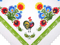 Polish Traditional Rooster Folk Art Square Table Linen Topper, 31