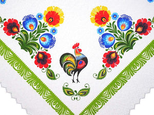 "Polish Traditional Rooster Folk Art Square Table Linen Topper, 31"" x 31"""