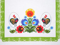 Polish Traditional Rooster Folk Art Table Runner Linen Topper 37.4