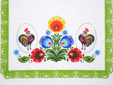 "Polish Traditional Rooster Folk Art Table Runner Linen Topper 37.4"" x 17.7"""