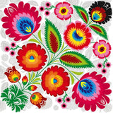 Polish Lowicz Folk Art Watermark Luncheon Napkins, Set of 20