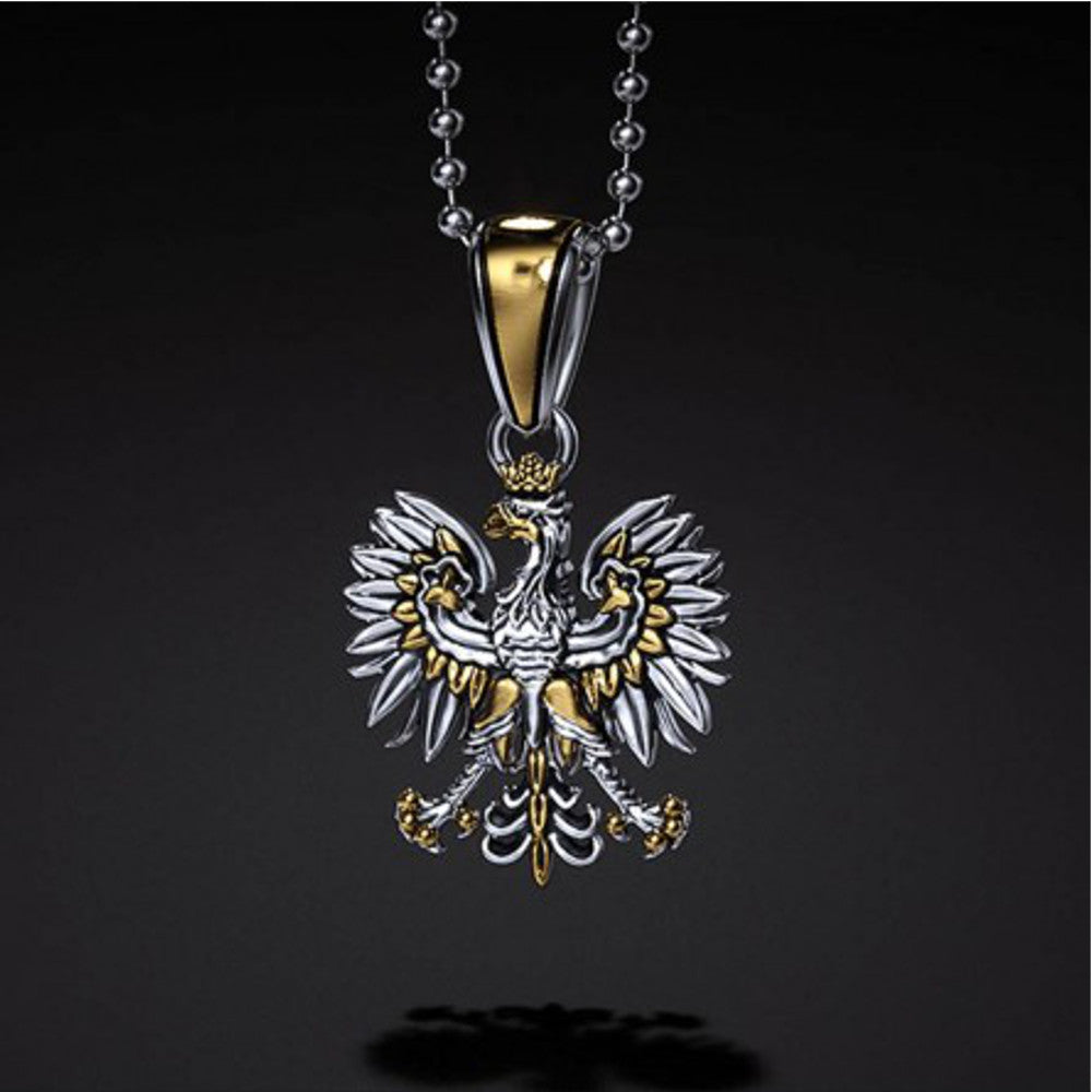 Traditional Polish Eagle Silver Pendant with Gold Plated Enrichment