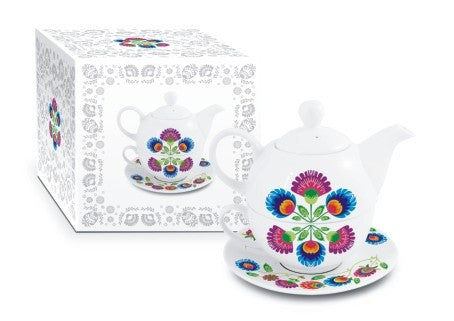 Polish Folk Art Ceramic Tea Pot, Cup and Saucer Set