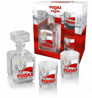 Polish Eagle on Flag Whiskey Glass Decanter Set