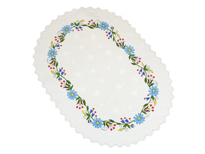 Set of 2 Polish Traditional Oval Easter Doily Basket Cover (Kashubian Flowers)