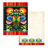 "Polish Folk Art Soft Spiral Notebook, 5""x6"" (Red/Black Roosters)"