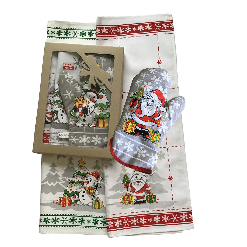 Polish Christmas Santa & Snowman Gift Set with 2 Kitchen Towels and 1 Oven Mitt in Box