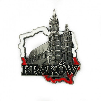 Poland's Contours & Krakow's St. Mary's Church Metal Magnet
