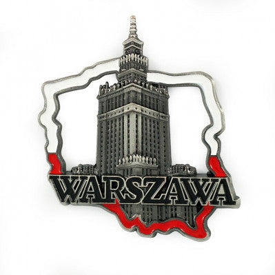Poland's Contours & Warsaw's Palace Metal Magnet