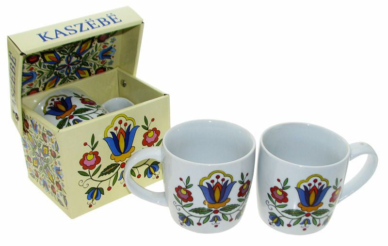 Polish Kashubian Folk Art Ceramic Mug in Matching Box