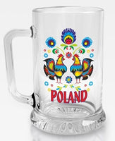 Polish Folk Roosters Glass Beer Mug