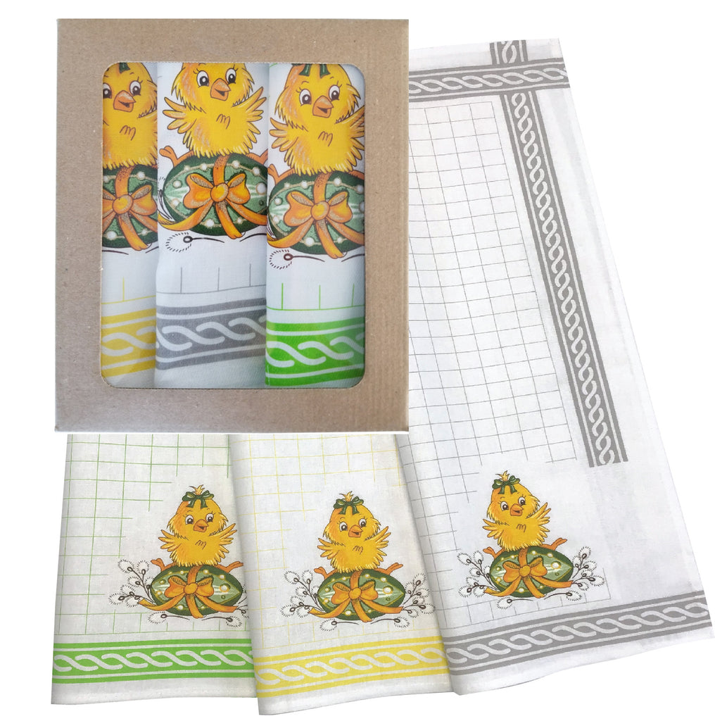 Set of 3 Polish Easter Chicks Kitchen Towels in Box