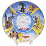 Large Hand-painted Polska Eagle Ceramic Plate featuring Poland's Cities