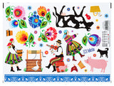 Polish Lowicz Farm Folk Art Stickers, Set of 31