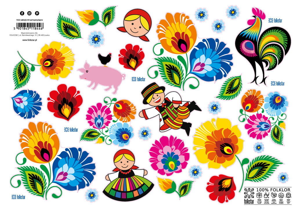 Polish Lowicz Folk Art Stickers, Set of 30
