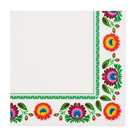 Polish Folk Art Floral Luncheon Napkins, Set of 20 - Taste of Poland  - 1