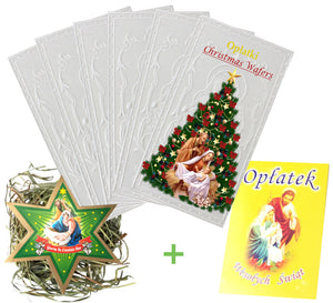 Set of 6 Traditional Christmas Wafers & Hay & Mini Oplatek