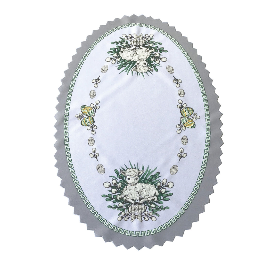 "Polish Traditional Easter Lamb Oval Doily 13""x19"""