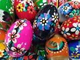 "Set of 7 Polish Slavic Easter Handpainted Wooden Eggs, (2.5"" L) Pisanki in Protective Box"