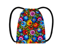 Polish Folk Art Floral Drawstring Backpack