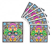 Polish Folk Cork Coasters, Set of 6 (Roosters Lowicz Folk)