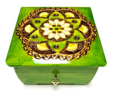 "Polish Folk Floral Rosette Wooden Box with Brass Inlays and Key, 6""x6"""